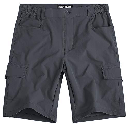 (WenVen Men's Lightweight Quick Dry Mutil Pockets Shorts Gray, 36)