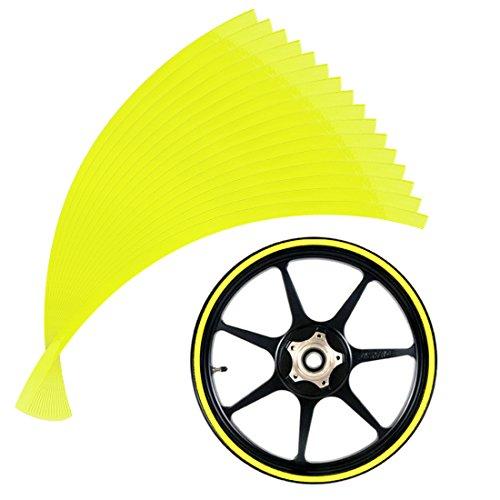 Andux Land 10mm cinta reflectante borde de la rueda para las ruedas de la motocicleta 14-16inch QCFGT-01 (Amarillo)