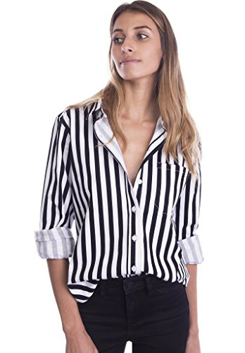 Shirt Cotton Front Striped Button - CAMIXA Women's Striped Collar Button-down Stretch Cotton Shirt Casual Chic Staple S Black/White