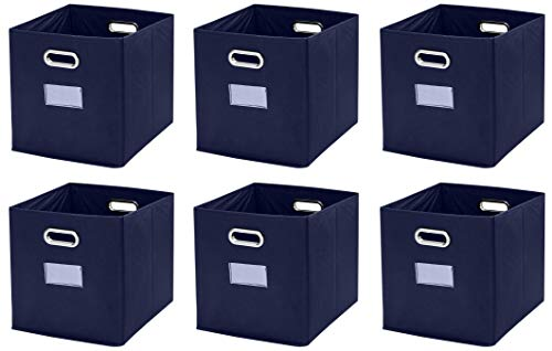 """Ornavo Home Foldable Storage Bins Basket Cube Organizer with Dual Handles and Window Pocket - 6 Pack - 12"""" L x 12"""" W x 12"""" H - Navy Blue"""