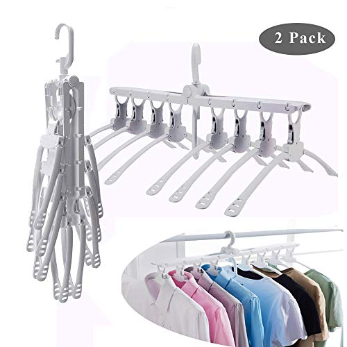 iPstyle Magic Hangers Folding Clothes Hangers Closet Space Saving Wardrobe Clothing Hanger Oragnizer for Wardrobe,Shirt Skirt Coat Kids Heavy Chrome Hangers (Magic Hangers)