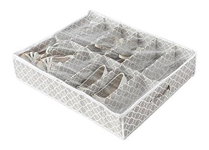 Compactor Home Zapatos Bolsa de Almacenamiento, Microfibra, Pardo y Blanco, 76 x 60 x 15 cm, Non-Woven 75G | Printing by Machine, Taupe, No No ...