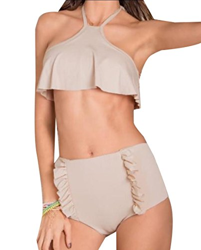 Coolred Womens Flounced Pure Colour Sexy Bikini Empire Waist Swimdress As Picture S -