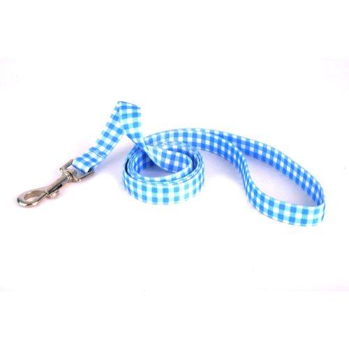 Yellow Dog Design Gingham Blue Dog Leash 3/4