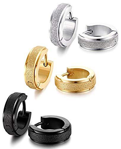 Stainless Steel Womens Hoop Earrings for Men Huggie Ear Piercings Hypoallergenic 20G (3pair Silver+Gold+Black)