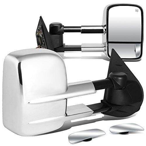 (For Silverado/Sierra HD Chrome Heated Power Extendable Towing Side+Rectangular Blind Spot Mirror)