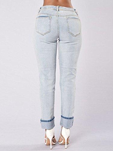 Pantalones Mujeres Vaqueros Slim Rotos De Denim Distressed Azul Mezclilla Jeans Vaqueros wrnrpCxOq