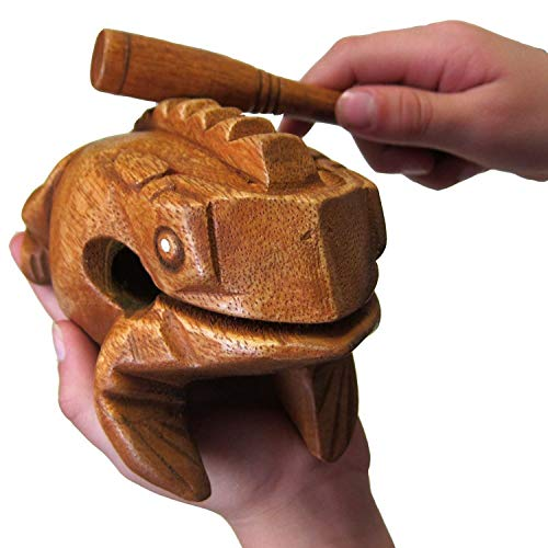 """Our Deluxe Large 6"""" Natural Frog Guiro is better than other frog instruments because of the construction, finish, and sound. The 6""""x6"""" size is large enough to create a realistic ribbit-like sound, like a croaking frog, when played correctly. It is al..."""