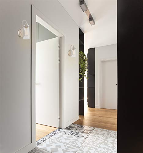 "Kira Home Rayne 9.5"" Modern Farmhouse Wall Sconce, Gooseneck Bathroom Light, Seeded Glass Shade + Brushed Nickel Finish"