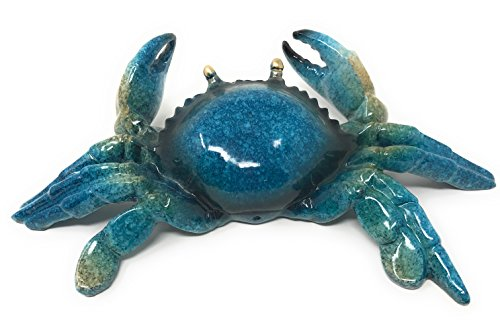 Green Tree Resin Blue Crab Figurine Statue, Medium, Indoor Outdoor Decor, 7.5 Inches Wide