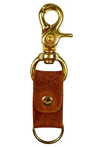 Trigger Swivel Keychain :: Natural Rust Brown Tanned Leather :: Solid Brass Hardware :: Western Style :: Handmade in Austin, Texas :: Great Practical Gift by Hatton Henry - Brass Plated Keychain