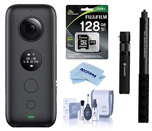 Insta360 ONE X Action Camera (CINONEX/A) - Bundle Bullet Time Handle/Folding Tripod with Selfie Stick, 32GB MicroSDHC U3 Card