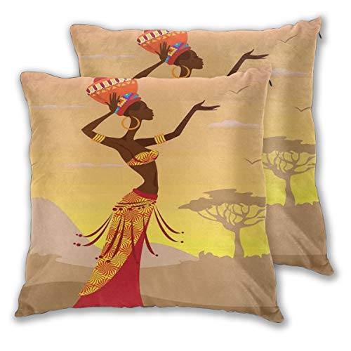 lsrIYzy Decorations Throw Pillow Cushion Cover Set of 2,African Woman in Desert with Gulls Flying Around Folk Female Stylish Artful Print Theme,Square Accent Pillow Case 16x16 inches ()