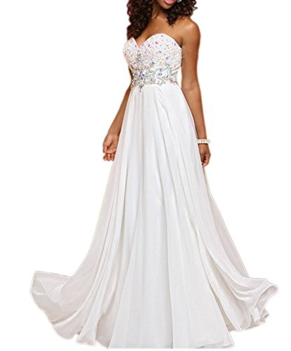 Brautmutterkleider Braut Herzausschnitt Traegerlos Lang A mia Abendkleider Elegant La Ballkleider Partykleider Weiß Linie 1q8Upgx