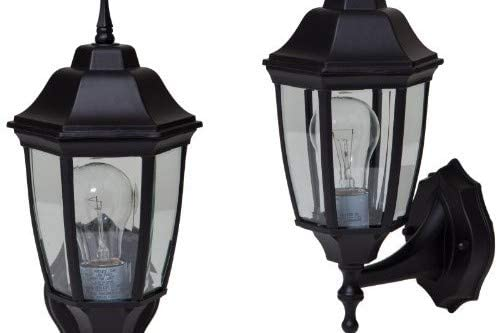 Pro Sourcetwin 5552294 Black outdoor wall lantern, 2 Pack
