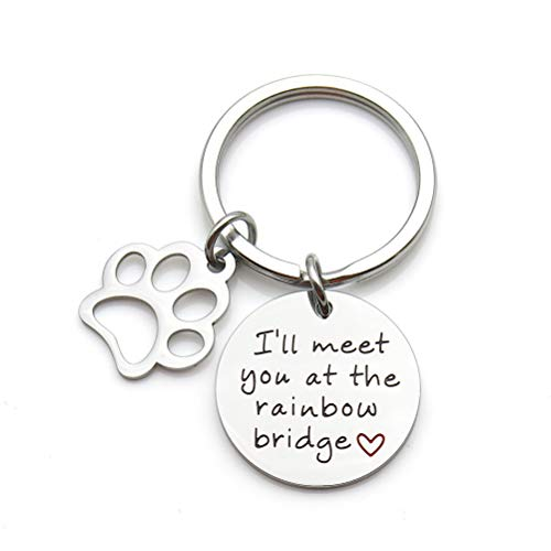Pet Memorial Jewelry I'll Meet You at The Rainbow Bridge Stainless Steel Keychain Pet Loss Gift Pet Sympathy Gift ()