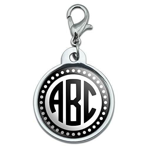 Graphics and More Personalized Custom Chrome Plated Metal Small Pet ID Dog Cat Tag - Monogram Circle Font Scalloped - Font Outline