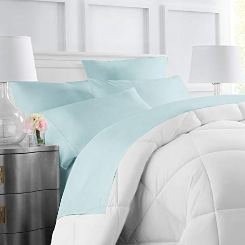 (Egyptian Luxury Hotel Collection 4-Piece Bed Sheet Set - Deep Pockets, Wrinkle and Fade Resistant, Hypoallergenic Sheet and Pillow Case Set  - Queen, Aqua)