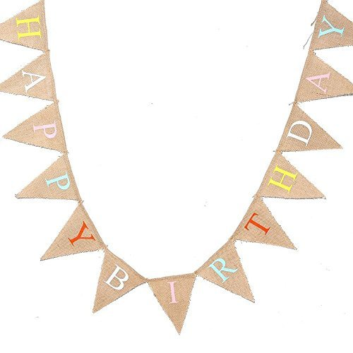 FirstKitchen FSK 4M/13 Feet ''Happy Birthday'' Burlap Bunting Banner Fabric Triangle Flags Vintage Cloth Shabby Chic Birthday Party Decoration - Fabric Happy Birthday Banner