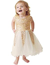 SUPEYA Baby Girls Wedding Party Golden Sequin Sleeveless Solid Color Lace Dress