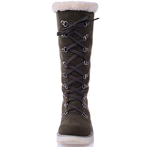 COOLCEPT Fashion Women Winter Shoes Flat Mid Calf Snow Boots Green hC79H