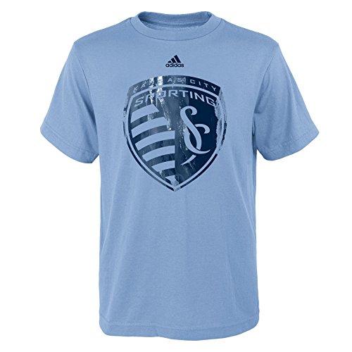 (Outerstuff MLS Kansas City Sporting Boys -War Paint Logo Short Sleeve Tee, Smoke Blue, Medium (10-12))