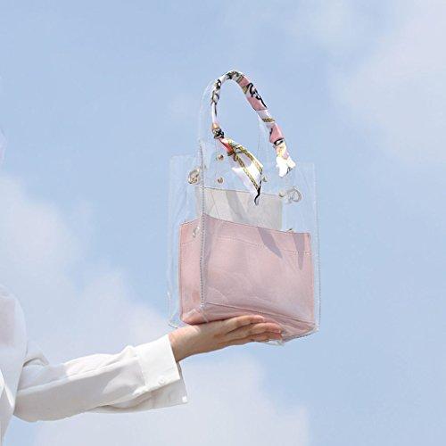 a B in a tinta da tracolla tracolla pvc borsa Borsa blu design rosa borsa trasparente semplice unita colore estiva donna B xzqwC