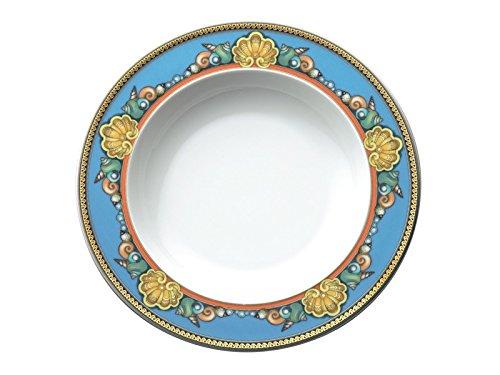 (Versace Les Trésors de la Mer Deep Plate, Porcelain, Blue, 22cm)