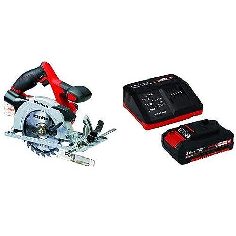 Einhell 4331200 Sierra Circular (4,200 min-1, no Incluye batería, Power-X-Change), 0 W, 18 V, Negro, Gris, Rojo + 4512040 Kit con Cargador batería de ...
