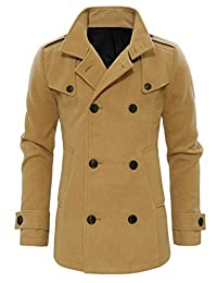 Tom's Ware Mens Stylish Fashion Classic Wool Double Breasted Pea Coat