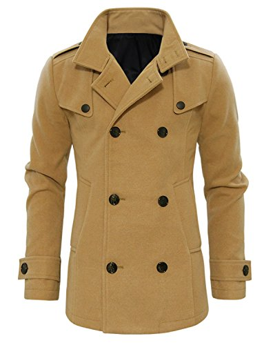 Tom's Ware Mens Stylish Wool Double Breasted Pea Coat TWCC06-1-DBEIGE-US L