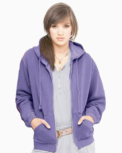 Comfort Colors Pigment-Dyed Ladies Full-Zip Hooded Sweatshirt, Flo Blue , Large (Dyed Cotton Pigment Zip Full)