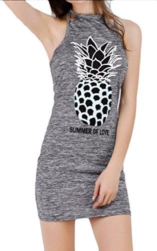 Bodycon Mini Gery Jaycargogo Fitted Summer Dress Printed Womens Sexy Pineapple wx0RY1a0U
