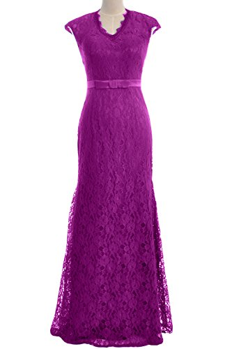 MACloth Women Mermaid Cap Sleeve Lace Long Evening Gown Wedding Formal Dress Fuchsia