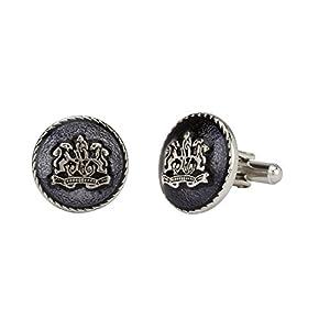 Stylepotion Stylish Victorian Royal Black Glass Enamel Silver Rhodium Plated Stylish Cufflinks Set for Men Office Corporate Gifting
