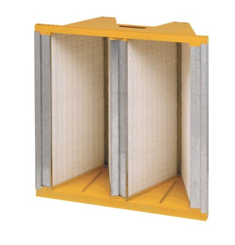 Filtration Group 41254 Titan FP 2V Mini-Pleat Air Filter, Wet Laid Micro-Fiberglass, Yellow/White, 11 MERV, Dual direction media, 24