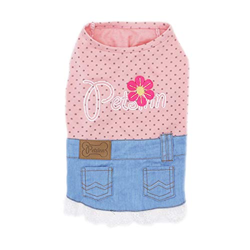 (kyeese Dog Dresses Sunflower Girl Dog Shirt with Lace Dog T-Shirt Sleeveless Denim Style)