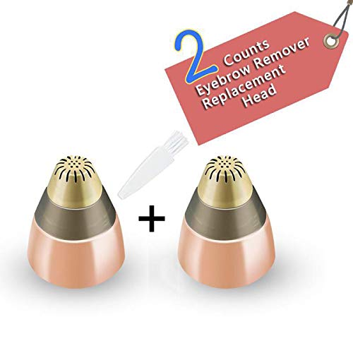 Replacement Blade Head for Eyebrow Hair Remover Trimmer Shaver Razor AS SEEN ON TV with Cleaning Brush(Rose Gold)