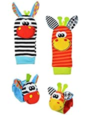 Cartoon Baby Toys 0-12 Months Soft Animal Baby Rattles Wrist Strap Baby Foot Socks