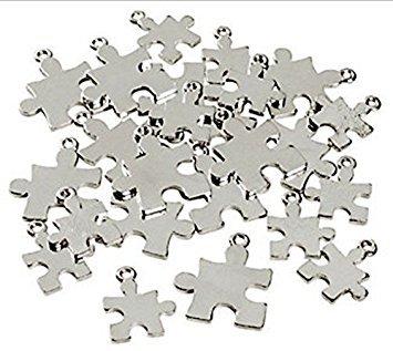 Autism Puzzle Piece Charm - Silvertone Puzzle Piece Charms Autism Awareness 2 Sizes - 24 Pieces