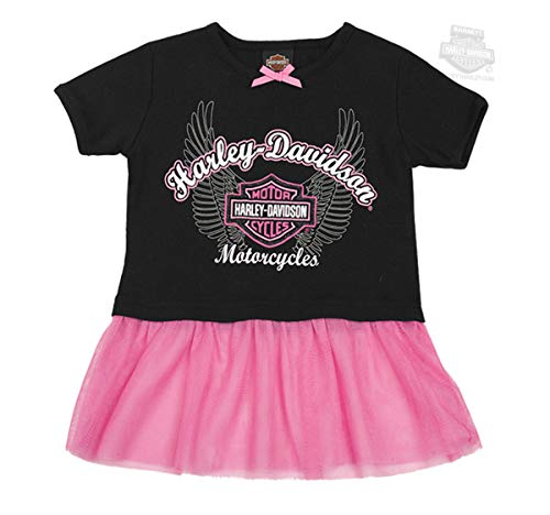 Harley-Davidson Toddler Girls' Ribbed Tutu Tee | Tulle Peplum (2T) ()
