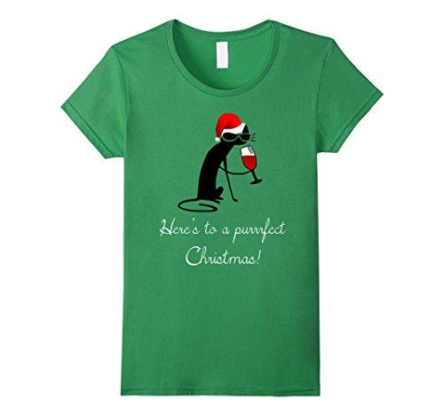 Cat Purrrfect (Womens Funny Christmas Cat Shirt - Purrrfect Christmas Wine T-Shirt Large Grass)