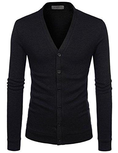 NEARKIN (NKNKCAC1) Mens Knitwear City Casual Slim Cut Long Sleeve Cardigan Sweaters BLACK US S(Tag size S)