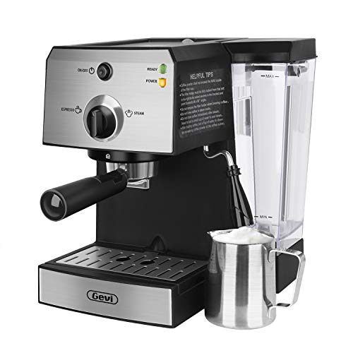 Espresso Machine,Barista Espresso Coffee Maker,with 15 bar Pump,Built-In Steamer & Frother, Stainless Steel and black