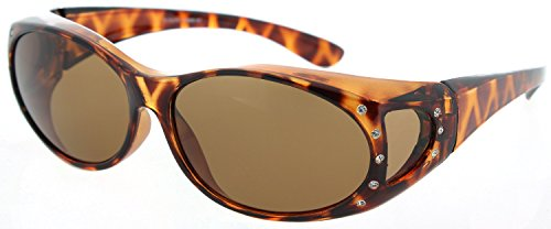 Fiore Polarized Fit Over Sunglasses (Polarized Rhinestone - Tort Frame/Brown Lens) (Reading Brown Rhinestone Glasses)