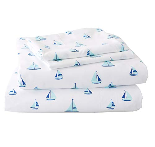 - Great Bay Home Printed Coastal Microfiber Bed Sheets. Wrinkle Free, Deep Pockets, Beach Theme Sheet Set. Newport Collection (Queen, Sailboat)