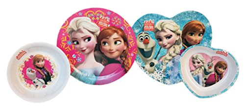 (Frozen Disney Princess Dinerware set. Matching Heart Shaped Bowl and Dinner Plate with Elsa, Anna and Olaf from Frozen & Matching Cereal Bowl featuring Anna & Olaf & Dinner plate with Elsa & Anna. )