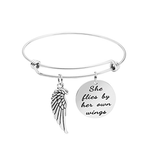 (Expandable Bracelet Adjustable Wire Bangle Jewelry Inspiraitonal Gifts for Women Charm Pendant (She Flies by her own Wings))
