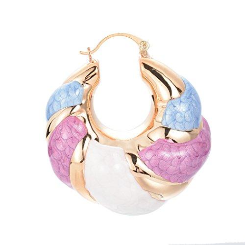 s Enamel Thick Door Knocker Eearrings Hoop Earring Colorful Jewelry ()