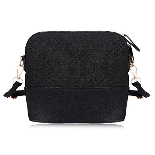 MIOIM Damen Stilvolle Schulter Handtasche Plaid Muster kleine Deer Anhänger Shell Form klein Weiche PU Leder Umhängetasche Tasche Schwarz WIESMYi